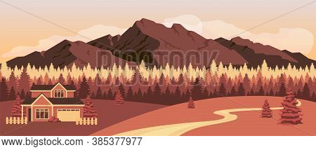Sunset In Mountains Flat Color Vector Illustration. Residence Near Autumn Forest. Home In Countrysid
