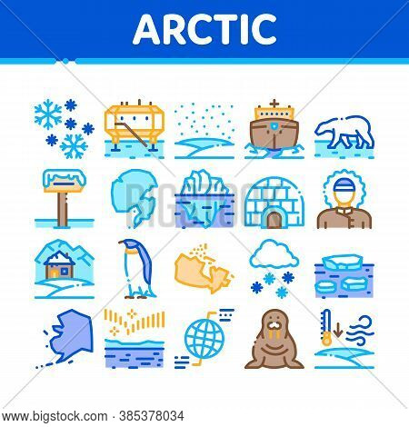 Arctic And Antarctic Collection Icons Set Vector. Arctic Snow And Ice, Iceberg And Bear, Station And