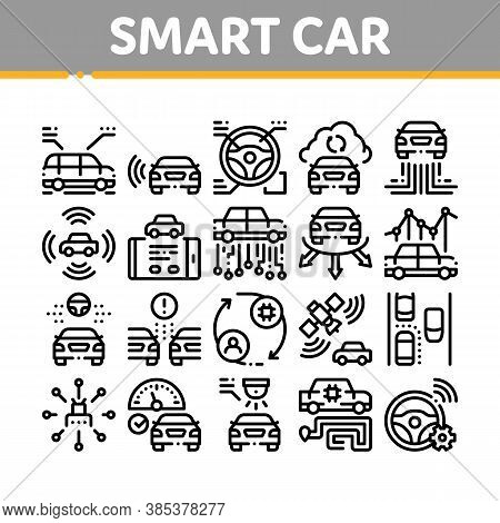 Smart Car Technology Collection Icons Set Vector. Smart Car Autopilot And Help Parking, Satellite Co
