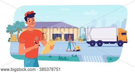 Delivery Logistics At Warehouse, Parcels Loading Or Unloading By Workers To Shipping Truck, Vector F