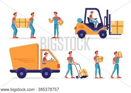 Warehouse Workers With Parcels Boxes, Delivery And Shipping, Vector Flat Isolated Icons. Logistics A