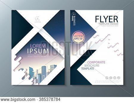 Annual Report Brochure Flyer Design, Leaflet Cover Presentation Abstract Flat Background, Book Cover
