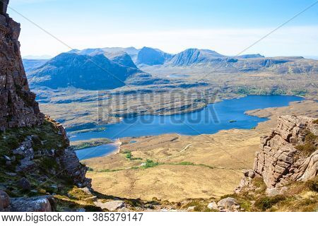 View from Stac Pollaidh  towards Loch Lurgainn, Inverpolly, Northwest Highlands, Scotland, UK.