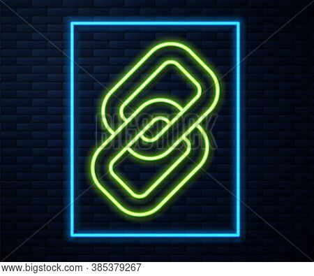 Glowing Neon Line Chain Link Icon Isolated On Brick Wall Background. Link Single. Hyperlink Chain Sy