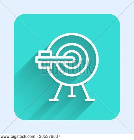 White Line Target With Arrow Icon Isolated With Long Shadow. Dart Board Sign. Archery Board Icon. Da