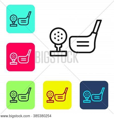 Black Line Golf Flag And Golf Ball On Tee Icon Isolated On White Background. Golf Equipment Or Acces