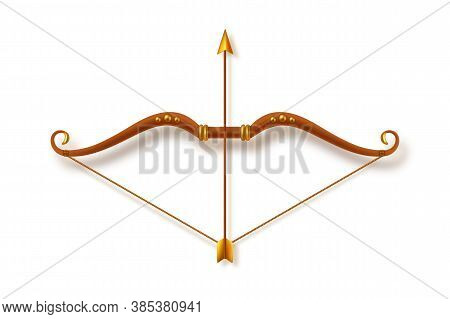 Antique Bow And Arrow Isolated On White Background. Dussehra Holiday Design Element. Realistic Style