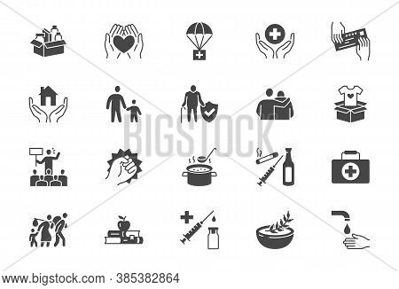 Charity, Social Worker Glyph Icons. Vector Illustration Included Icon As Donate Food, Humanitarian A