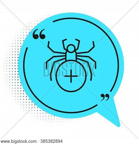 Black Line Spider Icon Isolated On White Background. Happy Halloween Party. Blue Speech Bubble Symbo