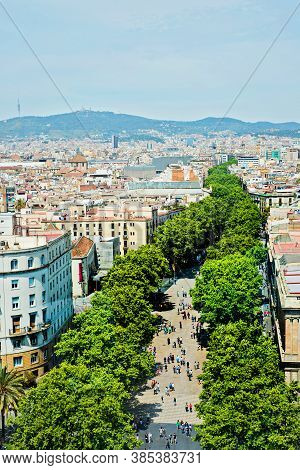 Barcelona, Spain - May 6, 2014: Barcelona From Above. View To The La Rambla.