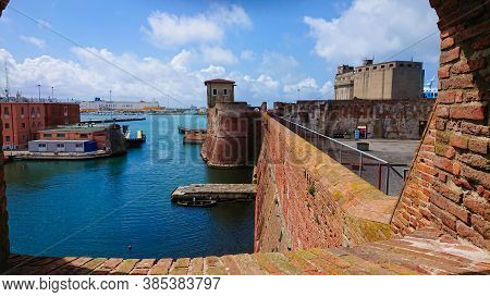 Livorno, Italy - April 28, 2019: View To The Ligurian Sea In Livorno And Old Fortress From Above.