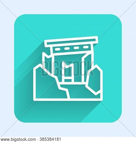 White Line Ancient Ruins Icon Isolated With Long Shadow. Green Square Button. Vector