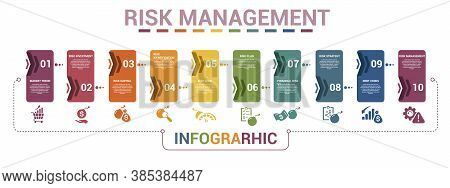 Infographic Risk Management Template. Icons In Different Colors. Include Market Trend, Risk Investme