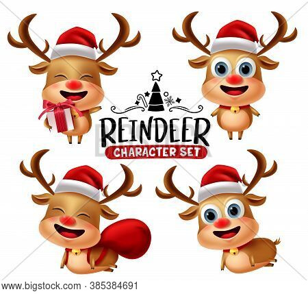 Reindeer Characters Vector Set. Reindeer Christmas Animal Character In Different Pose And Gestures W