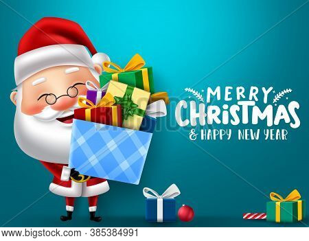 Christmas Santa Character Vector Banner Design. Merry Christmas Text With Santa Claus Character Hold