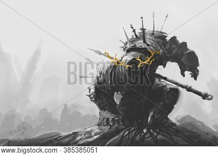 Ancient Dead Terrible Knight Warrior. Realistic Illustration Sketch And Background. Sketch And Backg