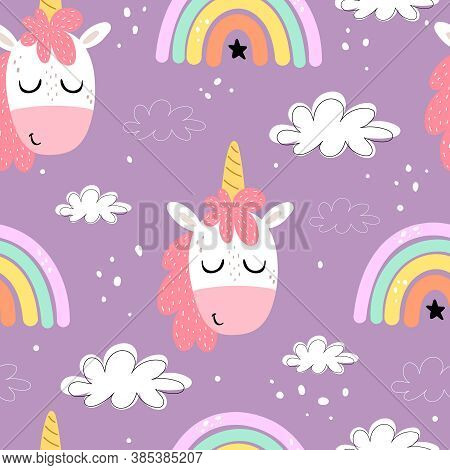Seamless Pattern With Cartoon Unicorns, Rainbows, Clouds, Decor Elements On A Neutral Background. Co