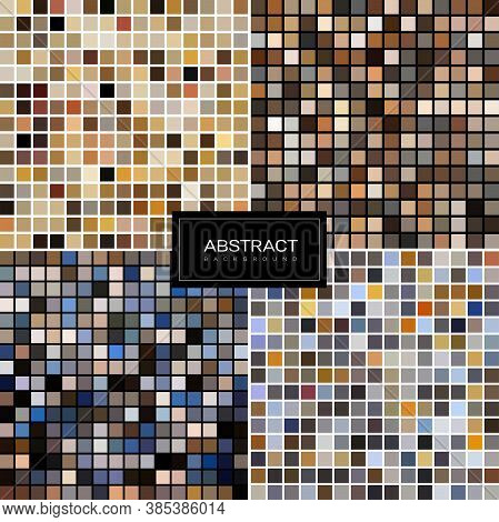 Set Of Vector Pastel Mosaic Backgrounds From Square Tiles. Pastel Tiled Design . Pastel Mosaic Backg