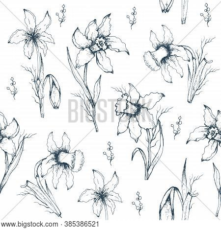 Seamless Pattern Of Monochrome  Flowers Close-up. Primroses Flowers In The Style Of Realism. Modern