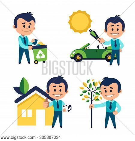 Environmental Protection Concept. Man Takes Out Garbage For Recycling. Man Planting Tree. Man Charge
