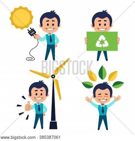 Environmental Protection Concept. Solar Energy Concept. Man Use Solar Energy.concept Use Of Natural