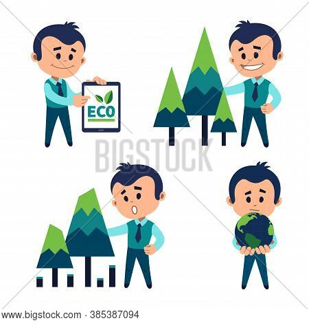 Protection Of Natural Resources. Ecologist Protects Ecology Of Planet. Planting And Preserving Fores