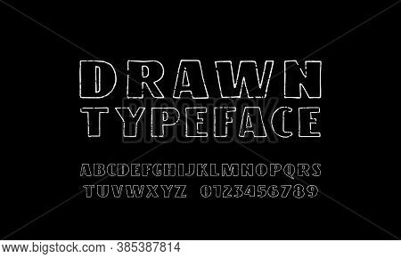 Sans Serif Font In The Style Of Handmade Graphic. Hollow Letters And Numbers With Rough Texture For