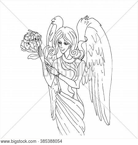 Vector Stock Illustration Angel With Bumblebee On White Background.