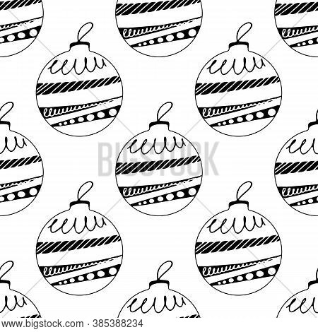 Seamless Pattern Made Frome Hand Drawn Christmas Tree Balls With Doodle Elements. Isolated On White