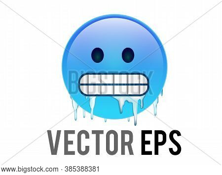 The Vector Gradient Blue Cold, Freezing Face Icon With Gritted Teeth, Icicles Clinging To Cheeks And