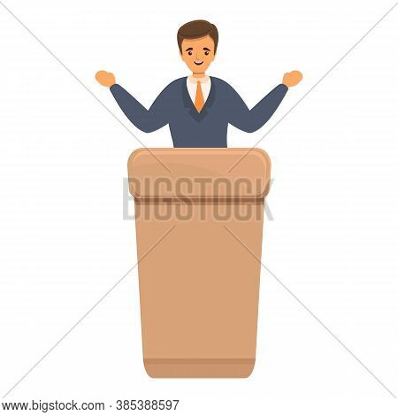 Agitation Politician Icon. Cartoon Of Agitation Politician Vector Icon For Web Design Isolated On Wh