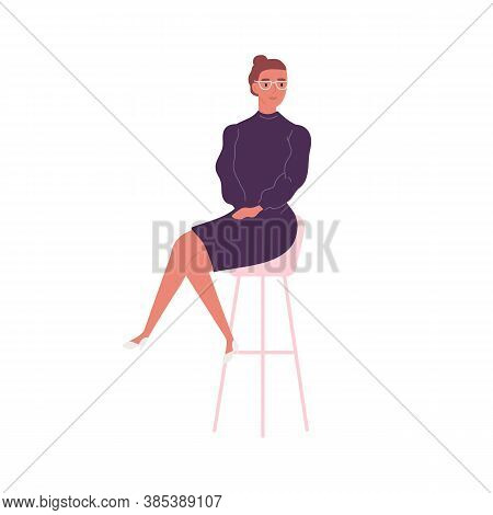 Stylish Woman In Elegant Dress Sitting On Bar Chair Vector Flat Illustration. Trendy Business Female