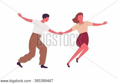 Couple Dancing Together Holding Hands Vector Flat Illustration. Professional Dancers Demonstrate Lin