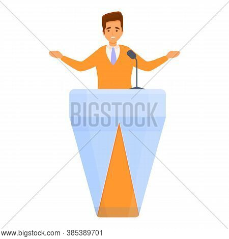 Election Vote Agitation Speaker Icon. Cartoon Of Election Vote Agitation Speaker Vector Icon For Web