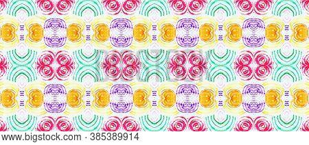 Seamless Watercolor Peru Pattern. Multi Colorful Rapport. Abstract Handdrawn Geometric Ethnic Illust