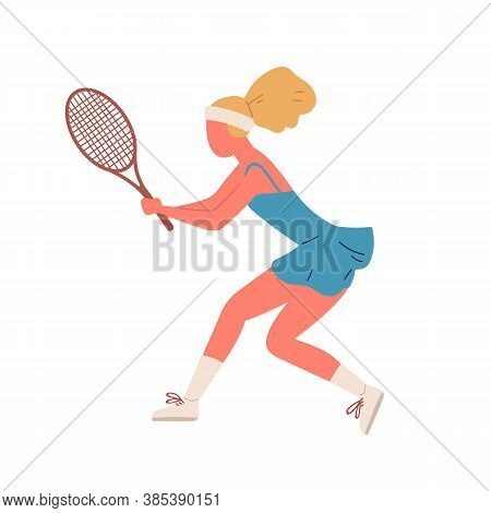 Active Woman Demonstrate Receive Position Holding Racket Vector Flat Illustration. Sportswoman Playi