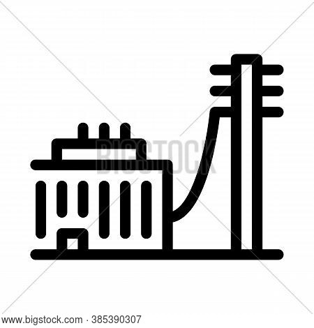 Building Connected Electricity Post Icon Vector. Building Connected Electricity Post Sign. Isolated