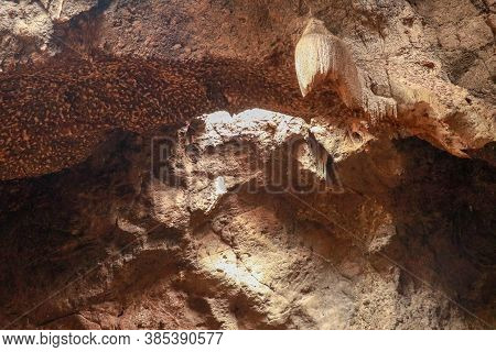 Stalactites Hanging From The Ceiling Of The Cave Underground. Mountain Nature. Habitat Of Bats. Fall