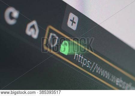 Dark Web Browser Close-up On Lcd Screen With Shallow Focus, Light Shining Through Https Padlock. Int
