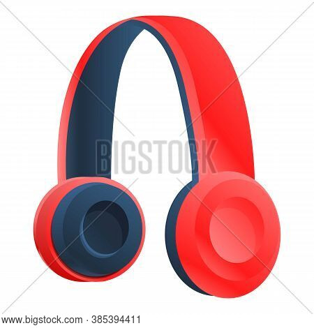 Red Wireless Headphones Icon. Cartoon Of Red Wireless Headphones Vector Icon For Web Design Isolated