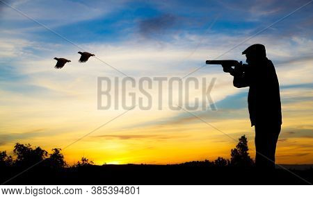 backlight of a hunter in action