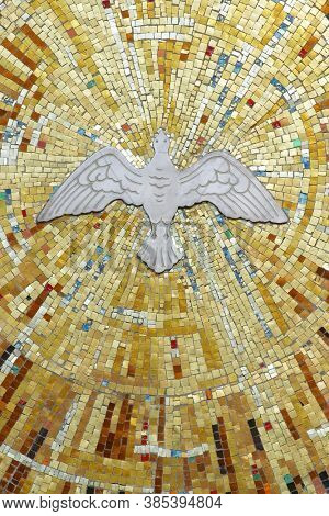 ZAGREB, CROATIA - MAY 19, 2014: Holy Spirit Bird, Parish Church of St. Anthony of Padua in Zagreb, Croatia