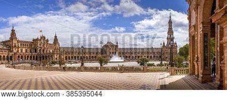 Sevilla, Spain - June Circa, 2020. Wide Angle Panorama Of The Spain Square Plaza De Espana In Sevill