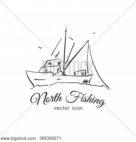 Hand Drawn Icon With Commercial Fishing Boat . Line Design.