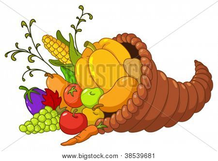 Horn of plenty. Cornucopia with autumn fruits and vegetables