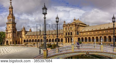 Seville, Spain - June Circa, 2020. Nobody Walking Near Fountain At The Spain Square, Plaza De Espana