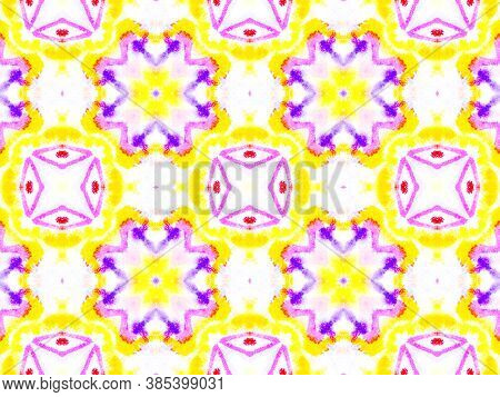 Ethnic Water Color Pattern. Water Colour Tile Design. Colorful Summer Background. Abstract Aquarelle