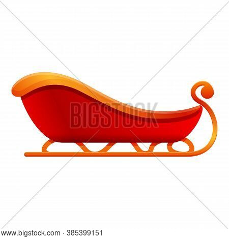Santa Claus Sleigh Icon. Cartoon Of Santa Claus Sleigh Vector Icon For Web Design Isolated On White