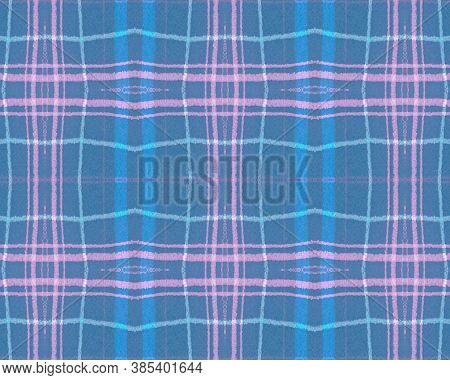 Blue Pastel Check. Seamless Picnic Fabric. Scotland Kilt. Vintage Checkered Blanket. Traditional Pas