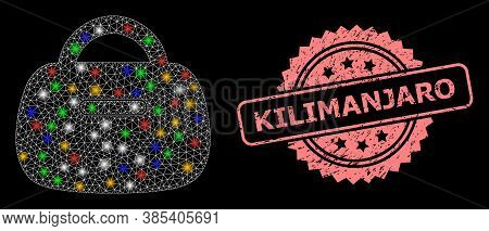 Glowing Mesh Net Handbag With Light Spots, And Kilimanjaro Rubber Rosette Seal Imitation. Illuminate